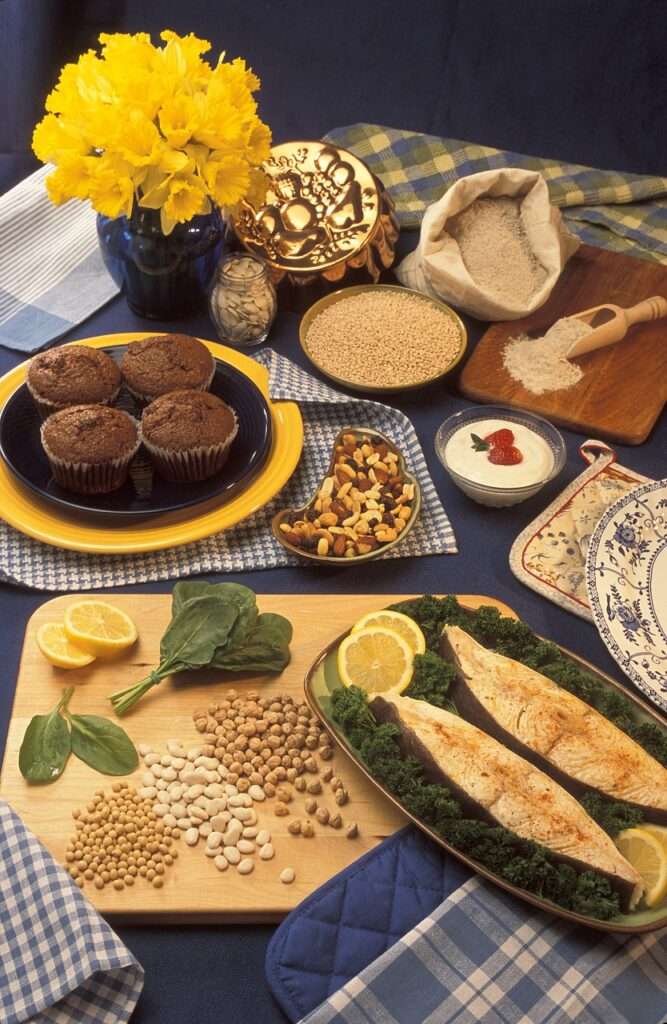 presentation table, foods rich in magnesium, bran muffins